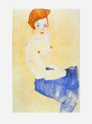 Egon Schiele Sitzender blauer Akt