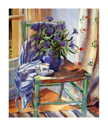 Sue Wales Cornflowers on Chair