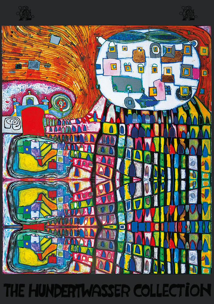 hundertwasser hauskatze poster kunstdruck bei. Black Bedroom Furniture Sets. Home Design Ideas