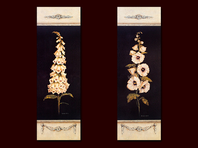 Kathryn White 2er Set 'Ornamental Foxglove Panel' + 'Ornamental Hollyhock Panel'