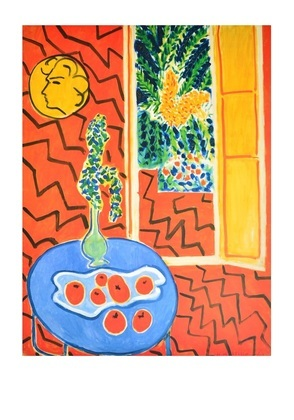 Henri matisse interieur rouge nature morte sur table bleue for Interieur rouge matisse