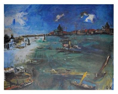 Oskar Kokoschka Venedig, Boote an der Dogma