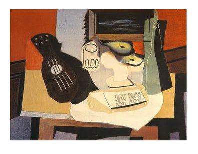 Pablo Picasso Gitarre, Glas und Schuessel mit Fruechten