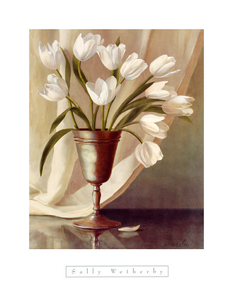 Sally Wetherby White Tulips in Pewter