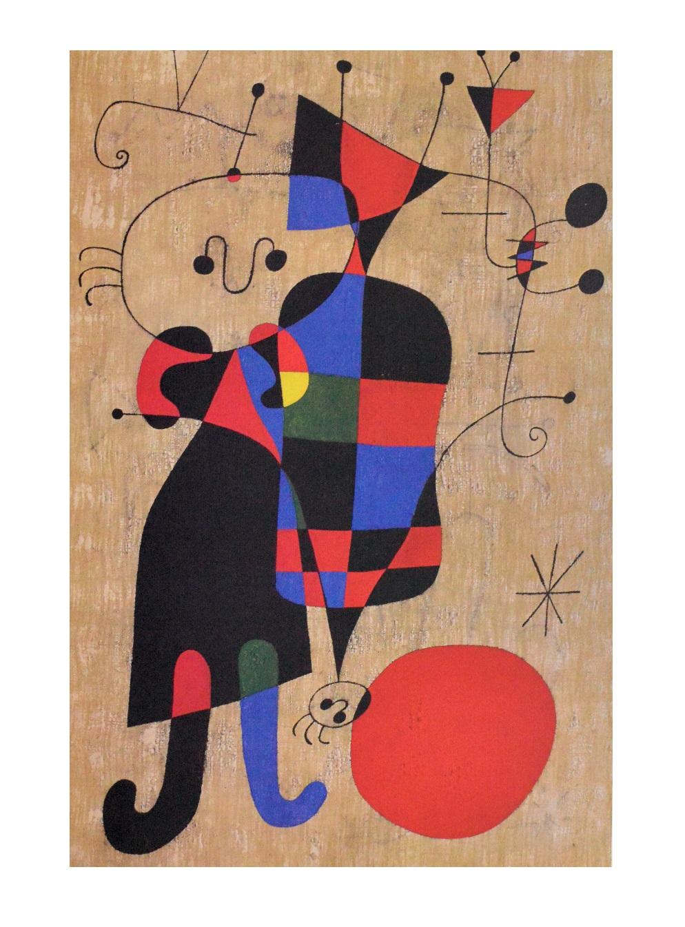 Joan Miro Leute und Hund Poster Kunstdruck bei