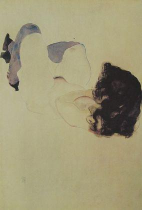 Egon Schiele Akt mit violetten Struempfen   1912