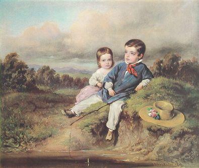 August von Pettenkofen Kinder am Bach