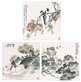 Gu und Gao China Set 3 Blatt  grosse Blumen Fruechte und Tiere