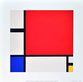 Mondrian piet composition in red blue and yellow 1930 medium