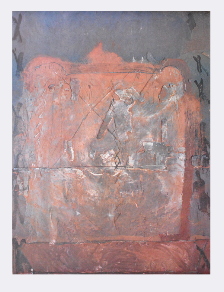 Antoni Tapies Kunstdruck Poster Bild Lichtdruck Relief in Ziegelfarbe 105x75 cm