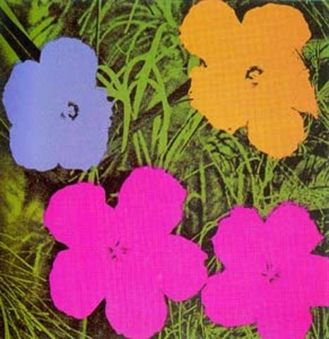 andy warhol blumen flowers yellow gross poster kunstdruck bei. Black Bedroom Furniture Sets. Home Design Ideas