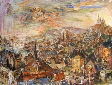 Oskar Kokoschka Prag  von der Villa Kramar