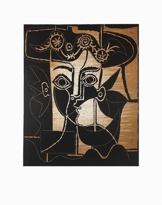Pablo Picasso Frauenkopf mit geschmuecktem Hut