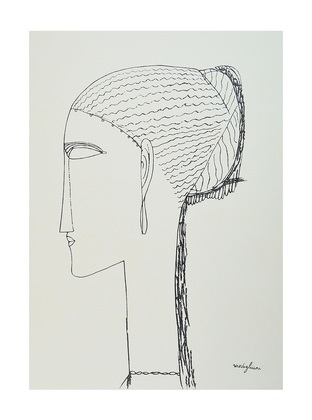 Amedeo Modigliani Female Head with Earring