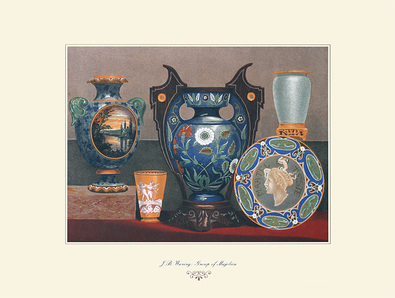 J.B. Waring 3er Set 'Group of Majolica' + 'Indian and Turkish Earthenware' + 'A Majolica Vase'