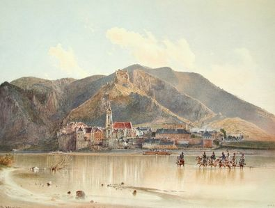 Rudolph von Alt Blick auf Duernstein in der Wachau