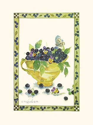 Alie Kruse-Kolk 4er Set 'Bilberries' + 'Pears' + 'Fruit Bowl III + IV'