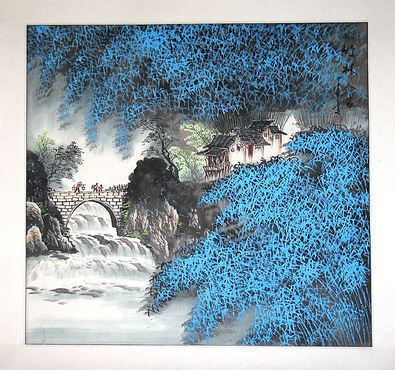 Jian Liang Gu China Steinbruecke und blaue Blumen