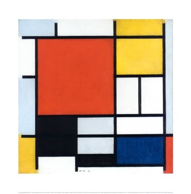 Piet Mondrian Komposition mit grosser roter Flaeche, Gelb, Schwarz, Grau und Blau