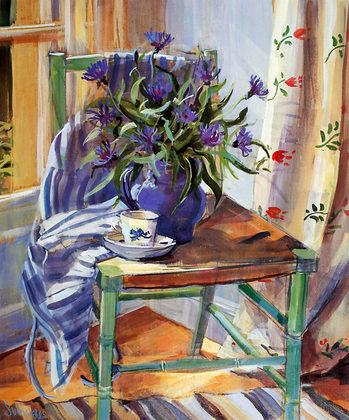 Sue Wales Cornflowers on Chair (klein)