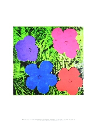 Andy Warhol Flowers (1 purple, 1 blue, 1 pink, 1red)