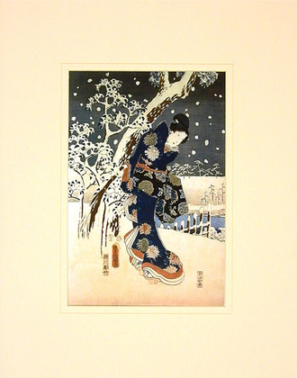 Utagawa Hiroshige Snow Scene in the Garden of a Daimyo, part of a Triptych
