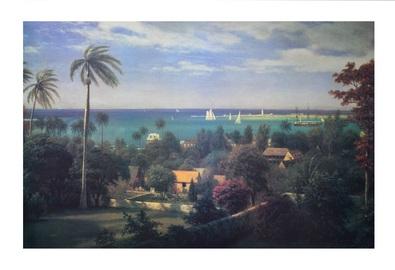 Albert Bierstadt Panoramic view of the harbour