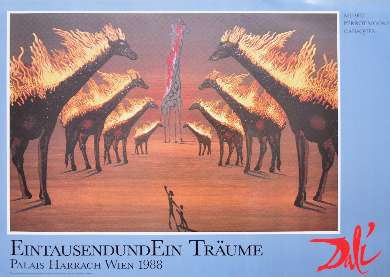 salvador dali brennende giraffen braun poster kunstdruck. Black Bedroom Furniture Sets. Home Design Ideas