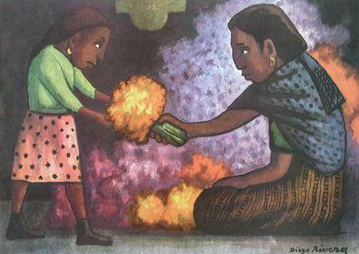 Diego Rivera Kind hilft der Mutter beim Blumenbinden