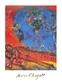 Marc Chagall Verliebtes Paar auf roten Hintergrund