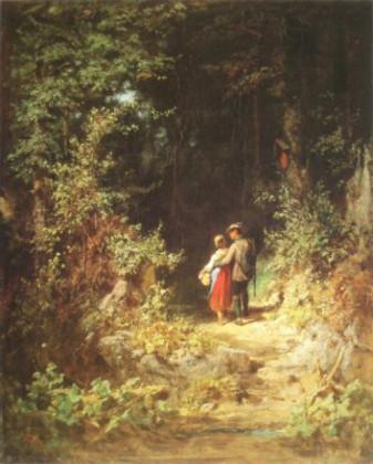 Carl Spitzweg Liebespaar im Wald