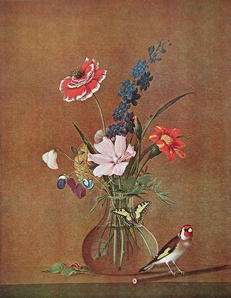 Fjodor Petrowitsch Tolstoi Blumenstrauss  Schmetterling und Vogel