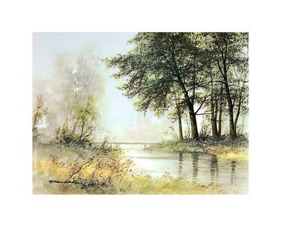 Gerhard Neswadba Bruecke am Teich