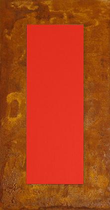 Juergen Freund 3D Rot auf Rost auf Holz