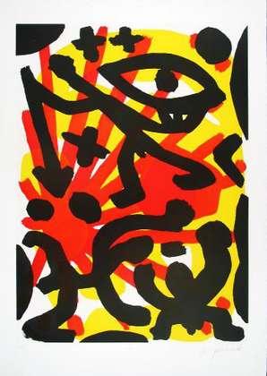 A.R. Penck Sie (Rot-Gelb) II