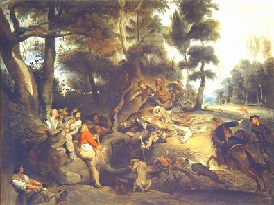 Eugene Delacroix Sauhatz (nach Rubens)