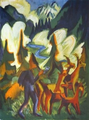 Ernst Ludwig Kirchner Hirte mit Ziegen am Morgen
