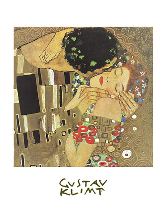 gustav klimt der kuss poster bild kunstdruck mit alurahmen in schwarz 30x24cm ebay. Black Bedroom Furniture Sets. Home Design Ideas