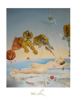 Salvador Dali Gala und die Tiger 1 Sek vor dem Erwachen
