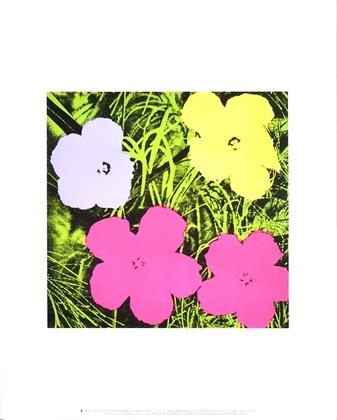 Andy Warhol Flowers (1 purple, 1 yellow, 2 pink)