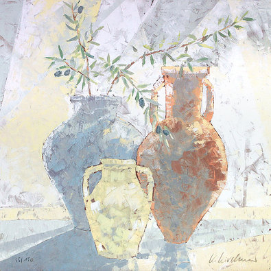 Karsten Kirchner Stillleben mit Vasen und Olivenzweig (handsigniert)