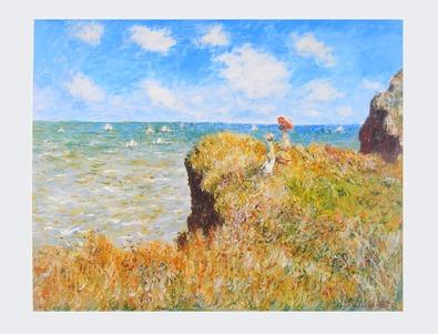 Claude Monet Spaziergang ueber die Felsen von Pourville