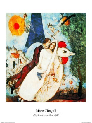 marc chagall les fiances poster kunstdruck bei. Black Bedroom Furniture Sets. Home Design Ideas