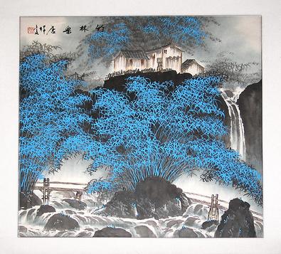 Jian Liang Gu China Holzbruecke und blaue Blumen