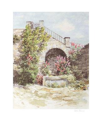 Hella Blume Garten mit Brunnen