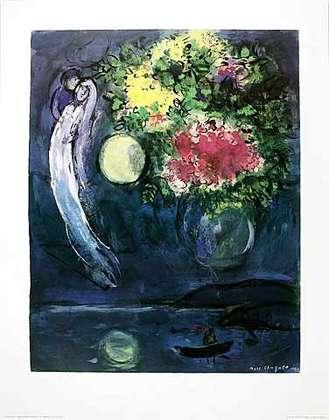 Marc Chagall Liebespaar mit Blumen