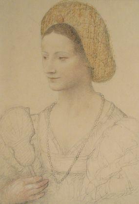 Bernardino Luini Bildnis einer Dame mit Goldhaube und Perlenkette