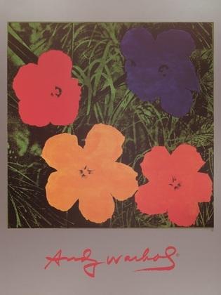 Andy Warhol Flowers Blau Rot Orange Gelb