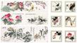chinesische Tuschezeichnung Set 13 Blatt auf gehaemmerten Karton
