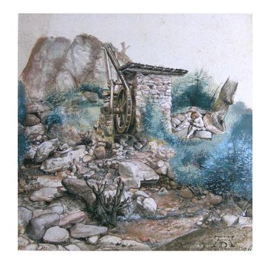 Albrecht Duerer Wassermuehle im Gebirge mit Zeichner